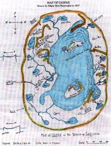 Map of Caspak (Caprona) as drawn by Edgar Rice Burroughs [Source: Wikipedia]